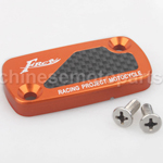 CNC Alloy Aluminium Brake Master Cylinder Reservoir Cap Cover Orange with Carbon Sticker for HONDA DIO50 ZX50 GY6-125