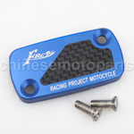CNC Alloy Aluminium Brake Master Cylinder Reservoir Cap Cover Blue with Carbon Sticker for HONDA DIO50 ZX50 GY6-125