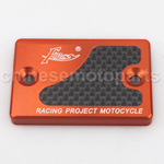 CNC Alloy Aluminium Brake Master Cylinder Reservoir Cap Cover Orange with Carbon Sticker for YAMAHA CYGNUS X125 GTR BWS