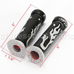 "7/8"" 22mm Flame Rubber Handle Bar Hand Grips For Honda Yamaha Kawasaki Suzuki"