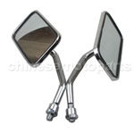 8mm Mirrors Rectangular Chrome BSA Cafe Racer Custom Bobber Chopper Mini