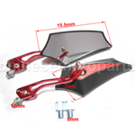 Red New Style Universal Motorcycle E-bike Back View Mirror For Yamaha Suzuk 10mm-8mm