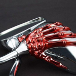 Red Skeleton Skull Hand Claw Shadow Rearview Motorcycle Side Mirror 8mm 10mm