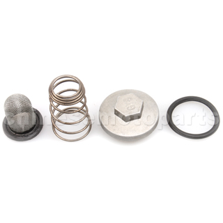 Oil Drain Screw with Filter for GY6 50cc-150cc ATV, Go Kart, Moped & Scooter