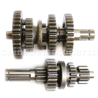 Main & Counter Shaft with Reverse (3 forward puls 1 reverse gear) for 50-125cc ATV, Dirt Bike & Go Kart