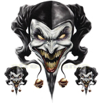 DECAL GRAPHIC for MOTORCYCLE WINDSCREENS Air Brush Jester evil skull clown biker