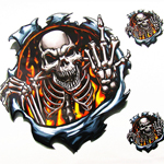 MOTORCYCLE Gates Of Hell Flaming Flame Skull Demon Decals Stickers For Cruiser